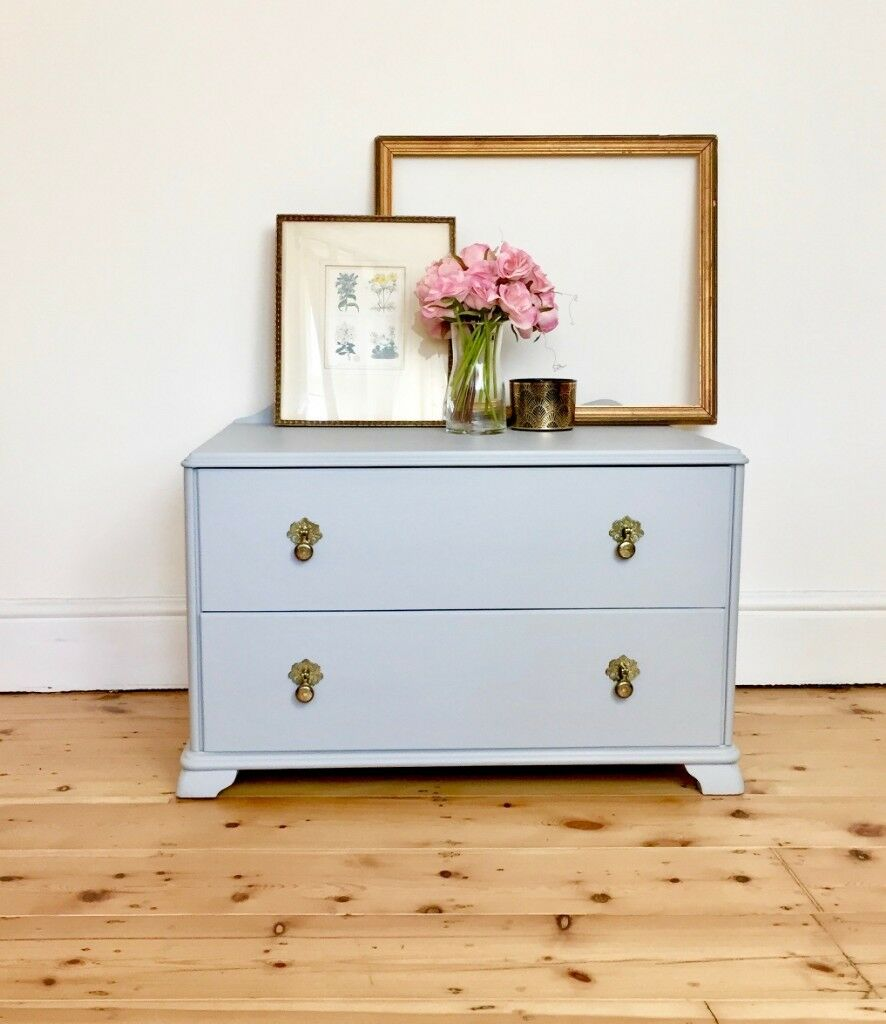 Vintage Grey Small Low Chest Of Drawers Tv Stand In