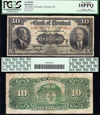 Nice  Scarce  1923  10 Bank Of Montreal Canada Note  Pcgs 10 Ppq  1513223