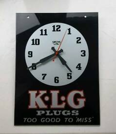 Vintage automotive advertising glass clock for KLG spark plugs ideal for man cave, office or kitchen