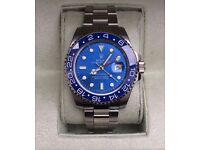 Rolex gmt master silver bracelet with blue bezel and blue face