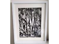 New York Manhattan Black & White Print in a White Wood Frame OFFERS WELCOME