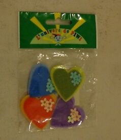 New pack of 4 Felt Heart shaped sticker decorations – art and craft
