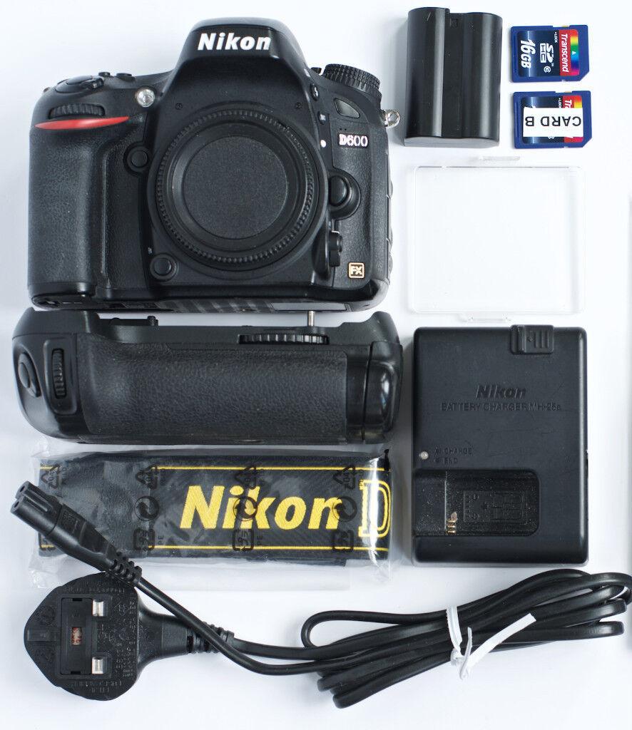Nikon D600 Full Frame FX Camera + Battery Grip + Accessories