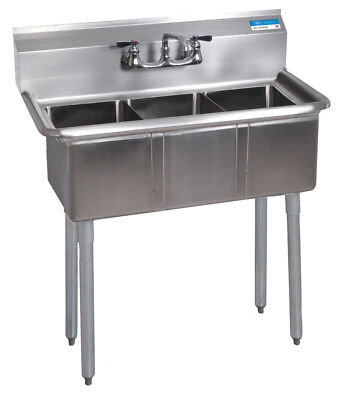 Bk Resources 35-12wx19-1316 3 Compartment Convenience Store Sink