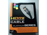 1.5m HDMI Cable - Platinum Series - 24K Oxygen Free Gold Plated Triple Shielding