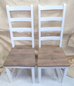 Set Of 2 Ding Room Chairs White and Brown