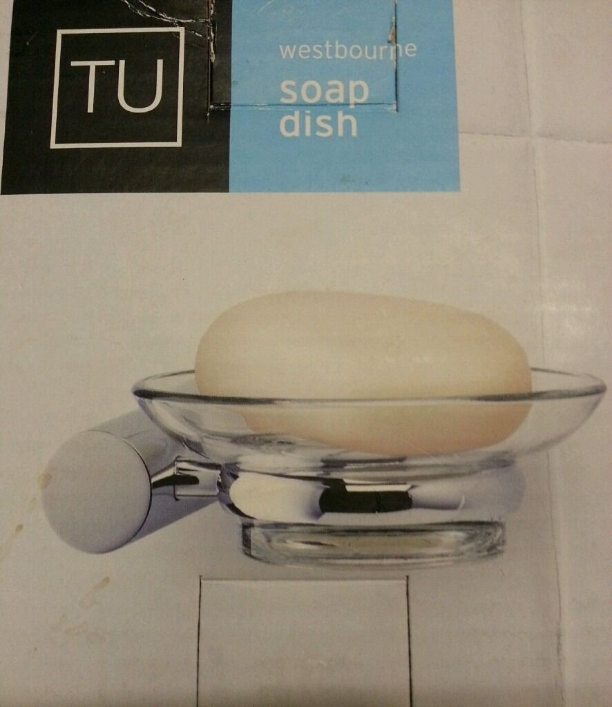 DEEP CHROME FINISH STEEL AND TOUGHENED GLASS SOAP DISH. DEEP CHROME FINISH STEEL AND TOUGHENED GLASS SOAP DISH   in