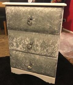 Bed side table cabinet crushed velvet