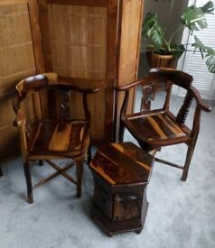 NEW WOODEN TABLE AND CHAIRS – MAHOGANY WOOD HAND-CARVED