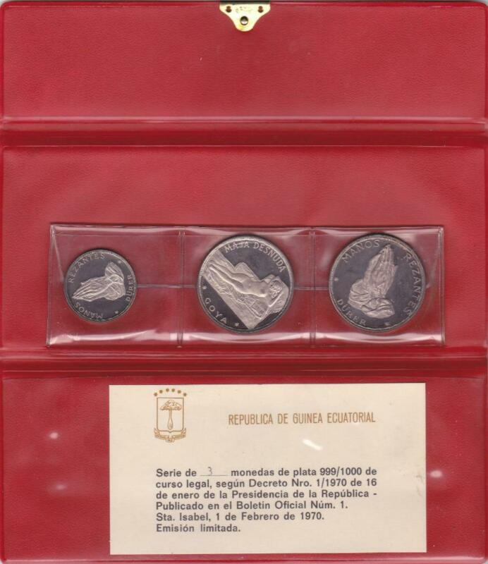 Equatorial Guinea 1970 3 Coin Silver Proof Set