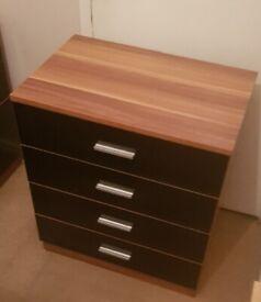 Black Walnut Chest Drawer 4 draws bedside side cabinet wardrobe tablet bedroom tv st table door rug