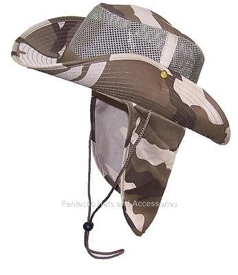 Men/Women Safari Outback Mesh Hat W/Neck Flap Fish #990 Light Desert Camo Medium