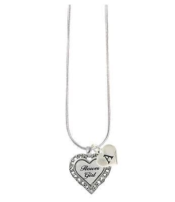 Custom White Heart Flower Girl Silver Necklace Jewelry Choose Initial All 26 (Flower Girl Necklace)