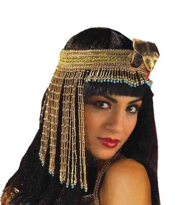 Cleopatra Gold Bead Hat Snake Asp Costume Beaded Headpiece Headband Egyptian Blu - Cleopatra Head Piece