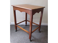 coffee table tea trolley RETRO carved solid chunky wood in good condition