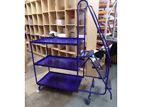Large Picking Trolley Blue 3 shelves with ladder and large wheels L170cm x W61cm
