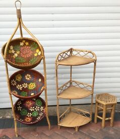 bambo furniture corner shelf/table/painted stand 3 pieces in total £28 for the lot
