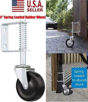 Spring Loaded Rubber Wheel Gate Caster Gate Support Woodchain Link Fences 4