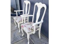 Upcycled Queen Ann Carver Chairs Rose Seat in Cream / Dining / Dressing Table