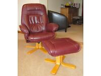 Faux Leather Swivel Chair and Footstool