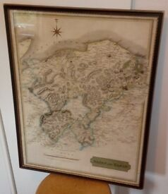 Nairn & Elgin, Scotland. Genuine antique map by William Johnson, 1832-framed & glazed.Hand coloured.