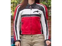 Alpinestars Leather Motorcycle Jacket; man/woman; red/white/black