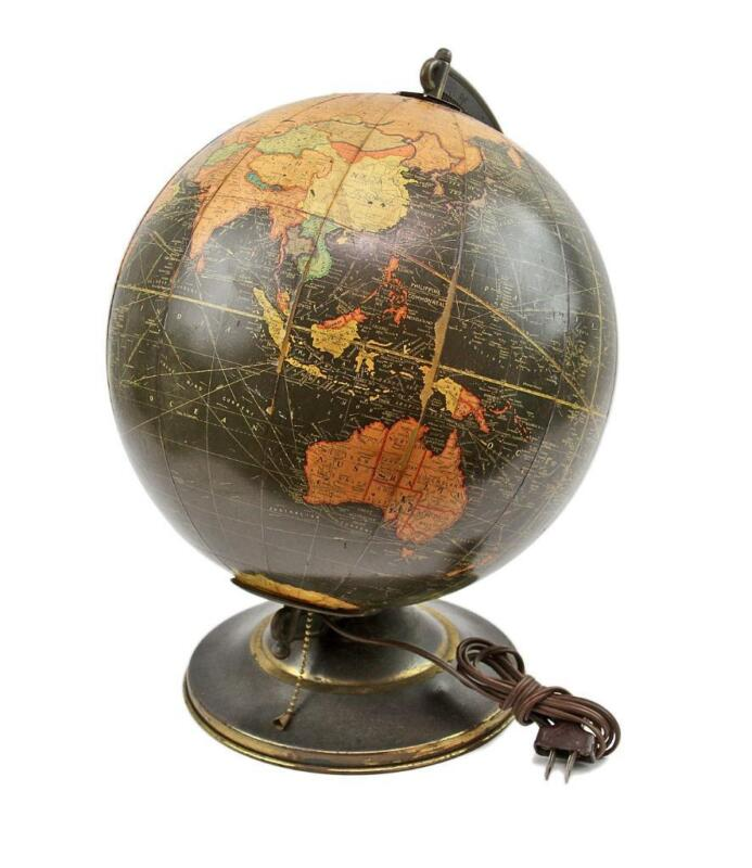 "VINTAGE Black Replogle 12"" Lighted Glass Spinning Library World Globe Atlas Map"