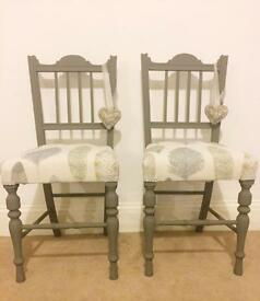 2 x small bedroom hall chairs vintage just been upholstered in voyage samui fabric