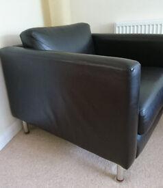 Large chocolate brown Habitat leather armchair