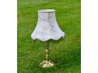 Brass Effect Table Lamp with Floral Fringe Shade