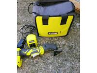 ryobi multi tool, battery, charger and bag