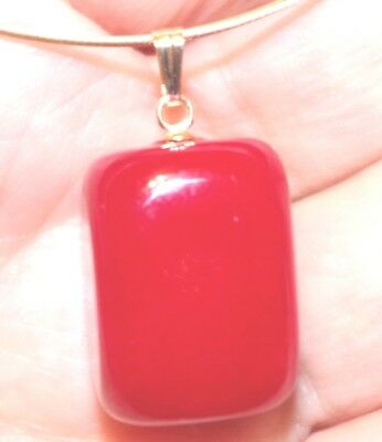 RED JADE VINTAGE GORGEOUS 14K LARGE 34 MM FOCAL POINT DROP PENDENT AA
