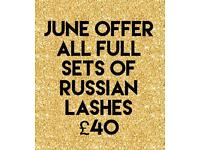 Russian lashes £40 acrylic nails £25 brow wax and tint £10