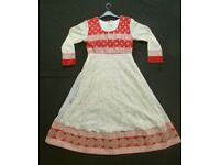 CREAM AND RED ANARKALI INDIAN ASIAN DRESS