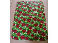 Red Poinsettia White Green Yellow Christmas Xmas Tablecloth / Table Cloth / Tableware