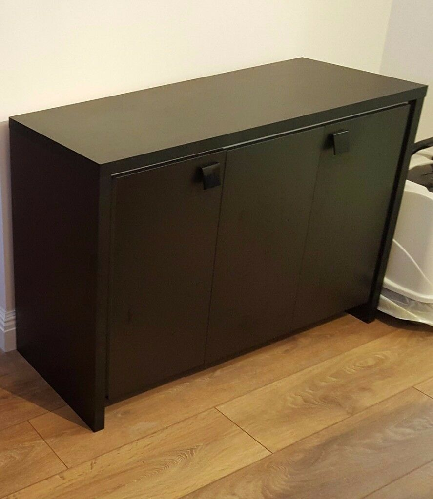 Side Table or Cabinet for Fluval Roma 200 Aquarium - Black with White Trim