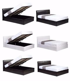 """70% OFF Double Gas Lift Ottoman Storage Bed £129, w/ 12"""" Thick Royal 1000 Pocket Sprung Mattress£269"""