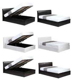 💗🔥💗BLACK BROWN & WHITE💗🔥New Double Gas lift Storage Ottoman Leather Bed AND deep quilt Mattress