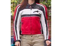 Alpinestars Leather Motorcycle Jacket; man/woman; red/white/black