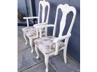 Upcycled Queen Ann Carver Chairs Rose Seat in Cream / Dining / Dressing Table Chair