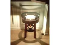 Concrete, Copper & Hard Wood End Table with Perspex top & Cast Iron Lamp Base.