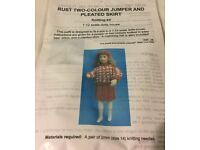 Rust Two-Colour Jumper and Pleated Skirt Knitting Kit for 1:12 Scale Dolls House