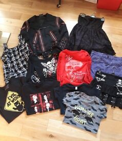Bundle of women's Alternative (goth/punk) clothing Size M/12 ( jacket, dresses, skirts, tops, tees)