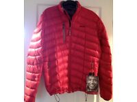 Red 'Sherpa' Men's Down Puffer Jacket, Medium, With Tags