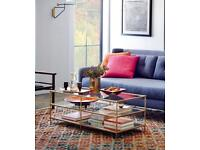 Coffee Table: mid-century designed glass and mirror