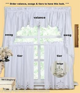 Http Www Ebay Com Itm Battenburg Kitchen Curtain Valance Tier Swag White Beig 200636017444