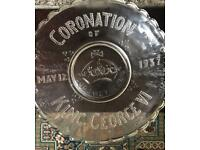King George coronation glass plate