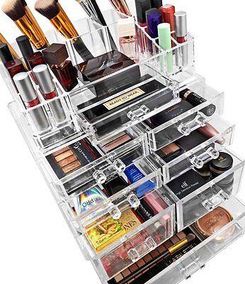 acrylic cosmetics makeup and jewelry storage case
