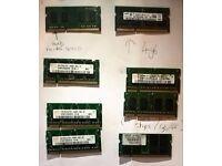 JOBLOT - VARIOUS LAPTOP MEMORY CHIPS - 1GB, 2GB, 4GB)