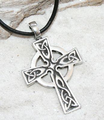 Celtic Cross Wales Irish Pewter Pendant Leather Cord